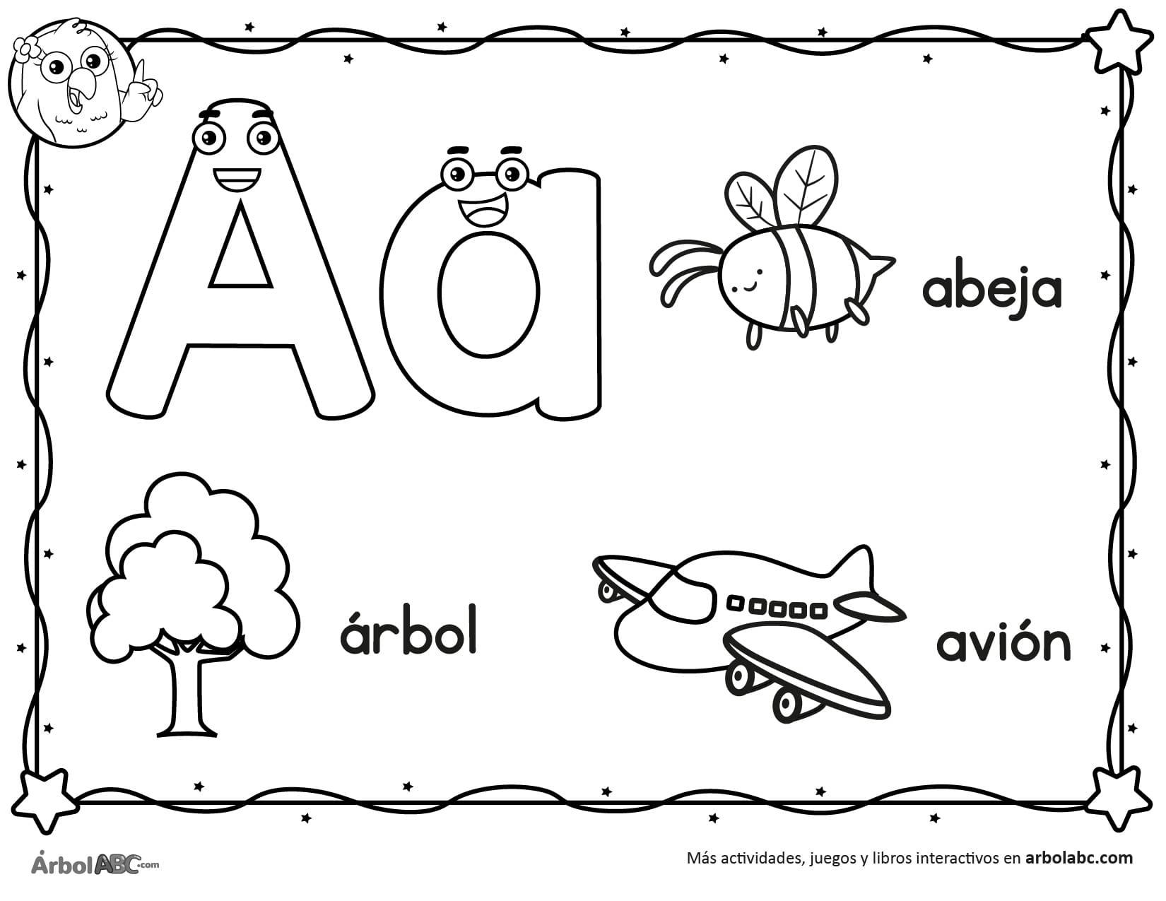 Letra A para colorear | Árbol ABC