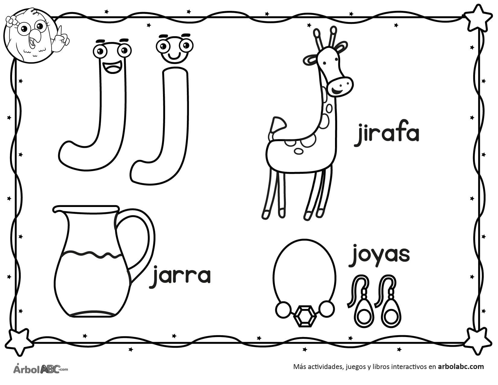 Letra J Para Colorear árbol Abc