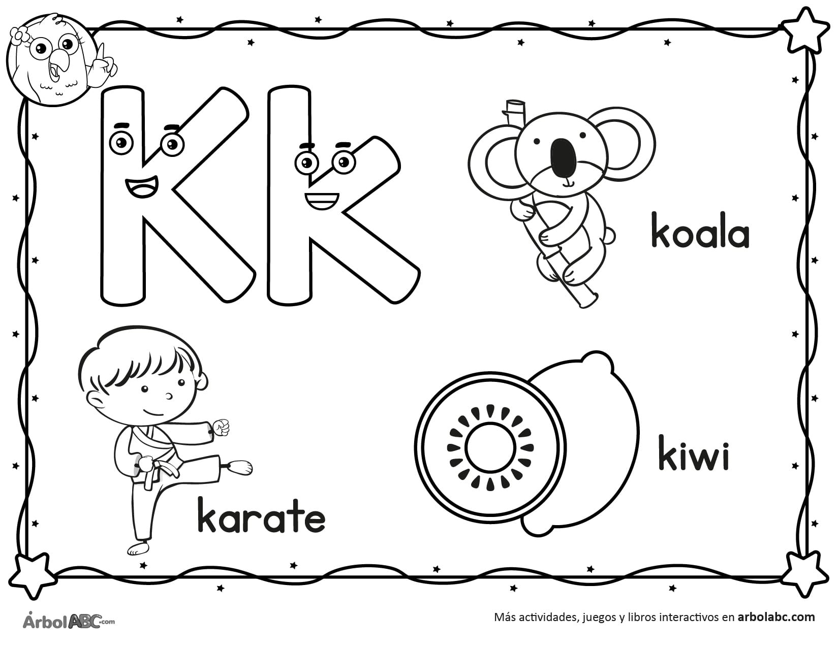 Letra K Para Colorear árbol Abc