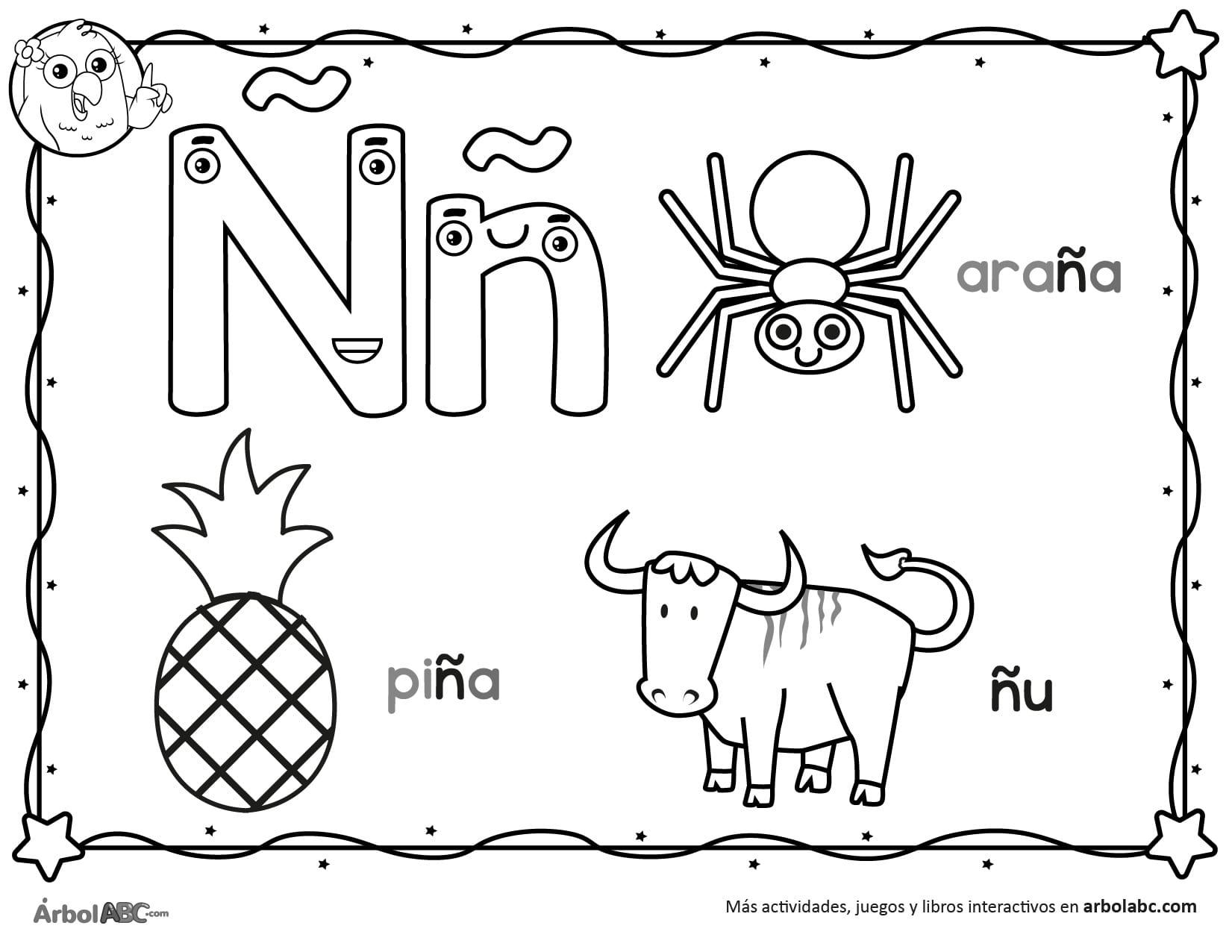 Letra Ñ para colorear Árbol ABC