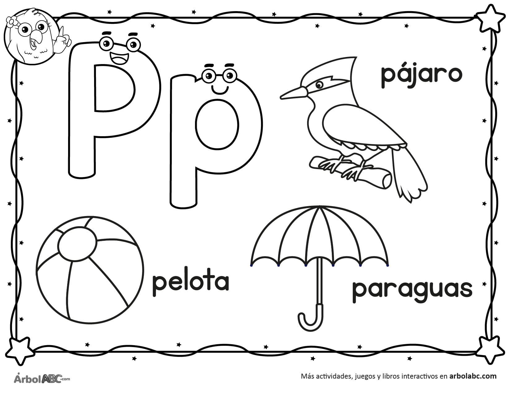 Letra P Para Colorear árbol Abc