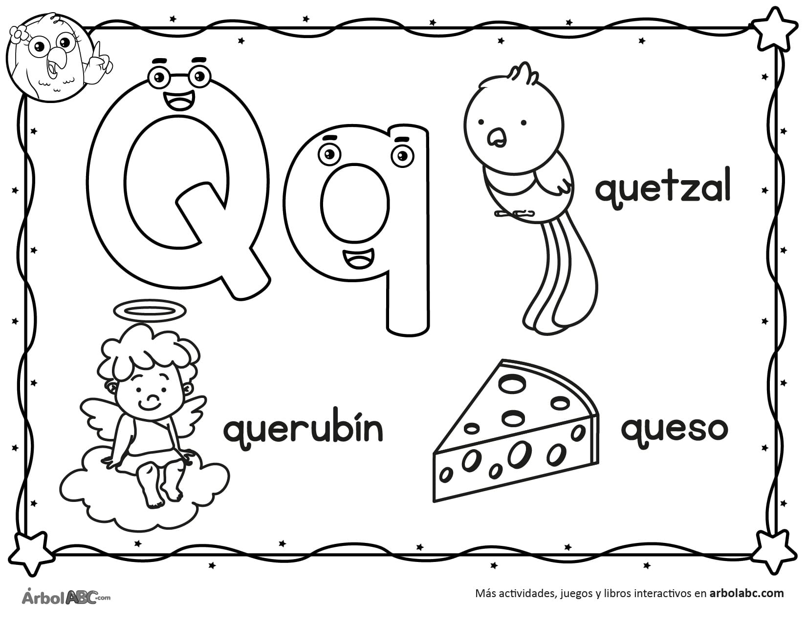 Letra Q Para Colorear árbol Abc