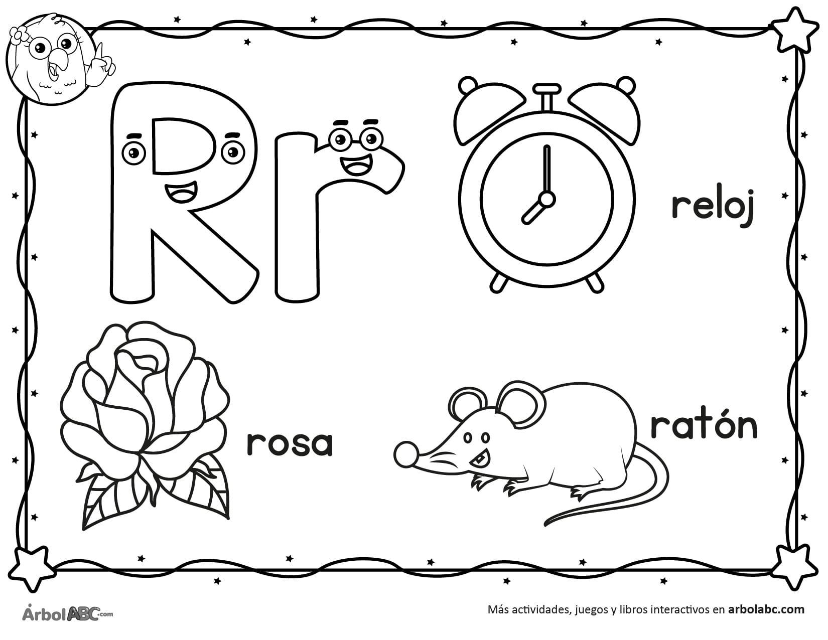 Letra R para colorear | Árbol ABC