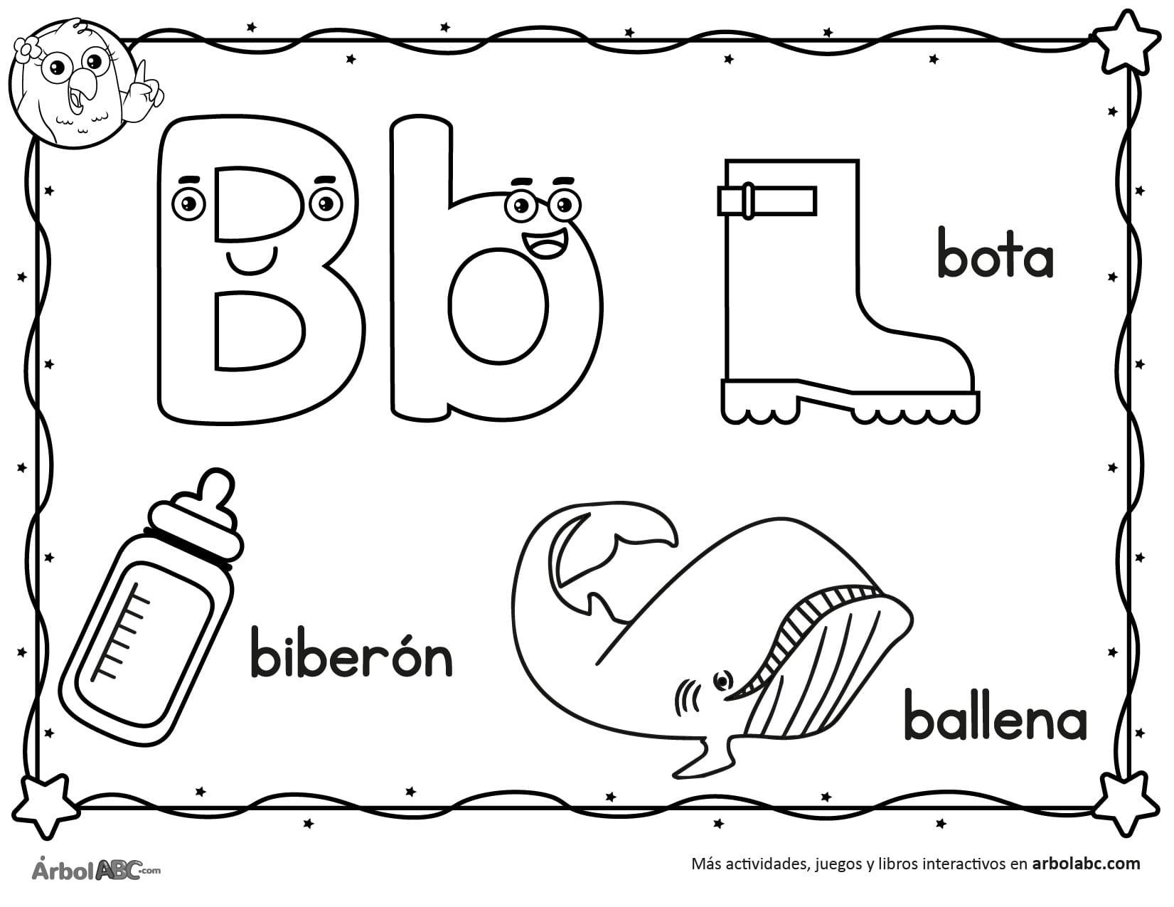 Letra B para colorear | Árbol ABC