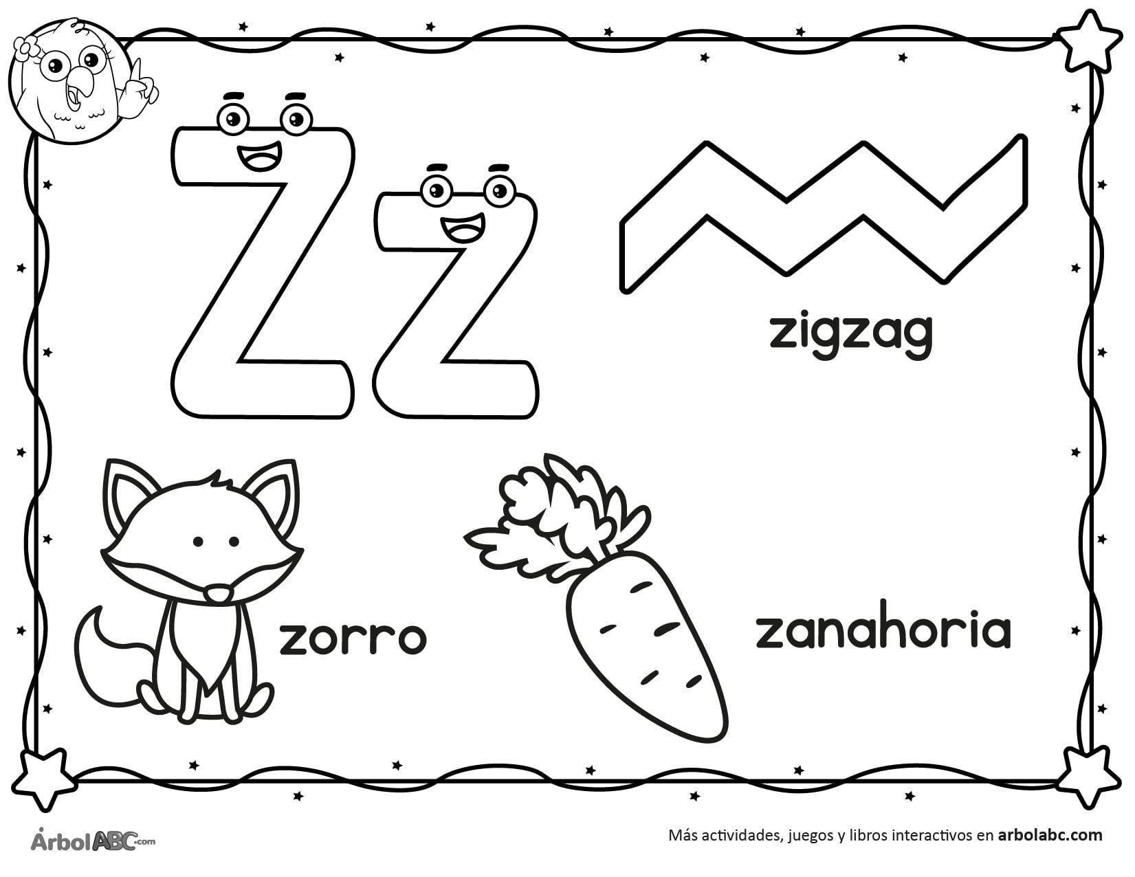 Letra Z Para Colorear árbol Abc