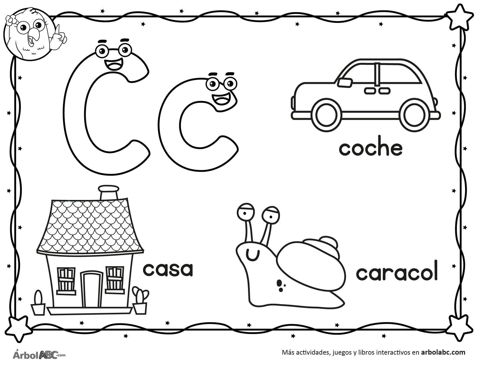 Letra C Para Colorear árbol Abc