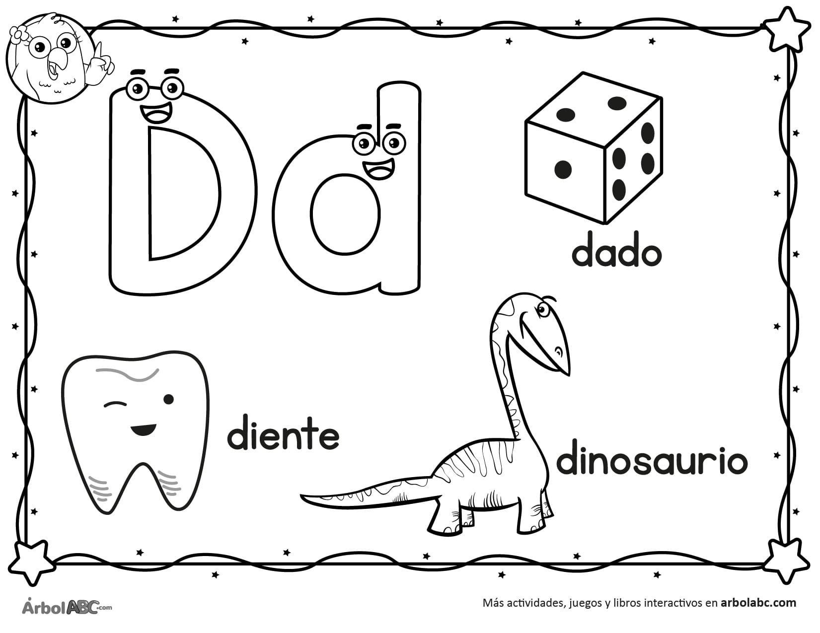 Letra D Para Colorear árbol Abc