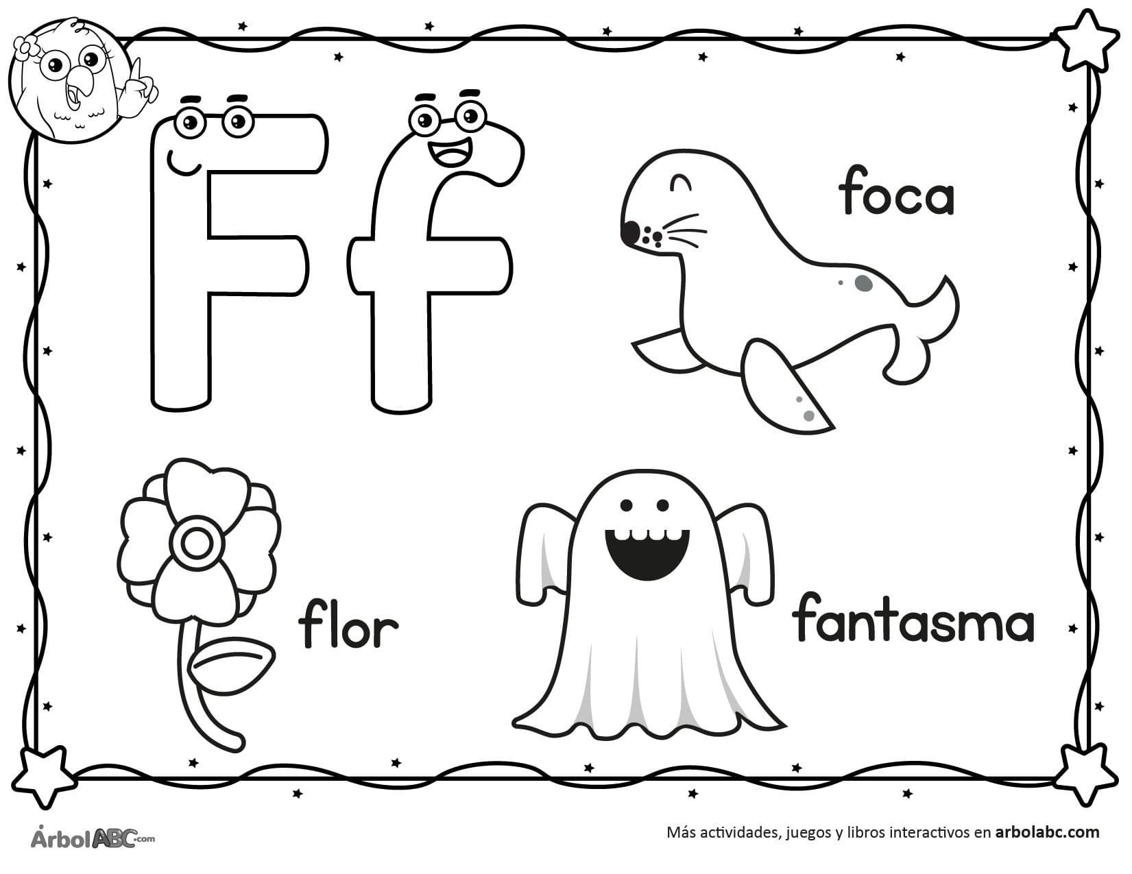 Letra F para colorear | Árbol ABC