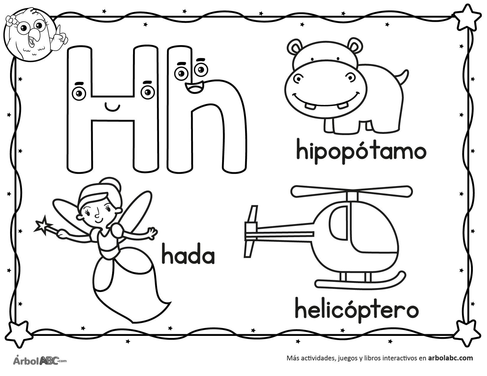 Letra H Para Colorear árbol Abc