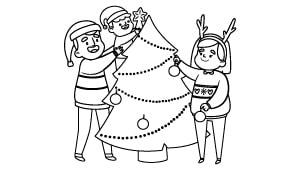 Dibujos De Navidad Para Decorar La Clase.Dibujos De Navidad Para Ninos Arbol Abc