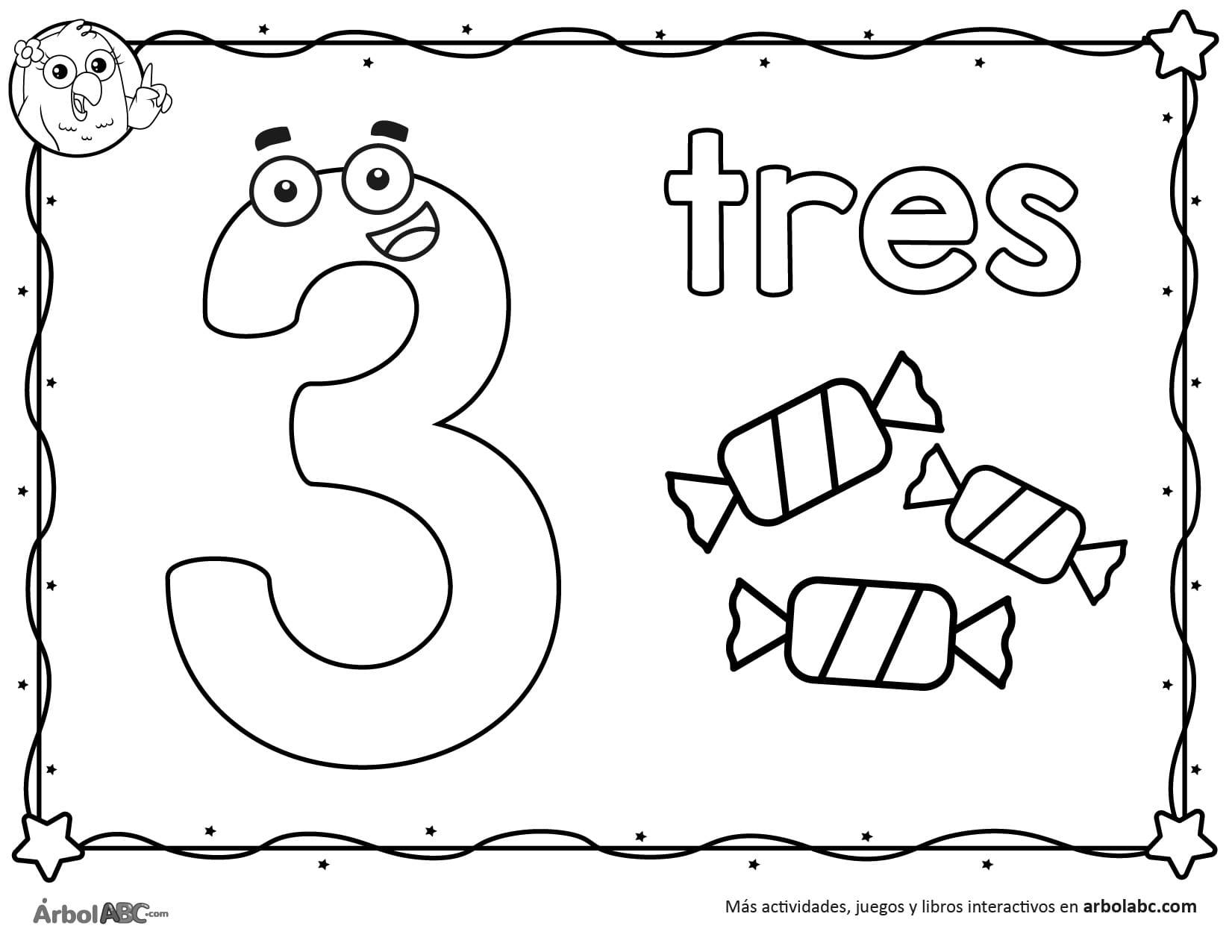 Número 3 Para Colorear árbol Abc